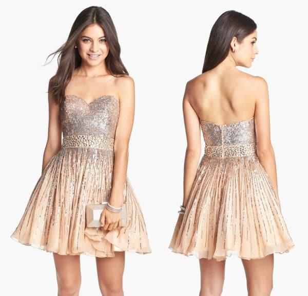 Sherri Hill - Embellished Silk Fit & Flare Dress