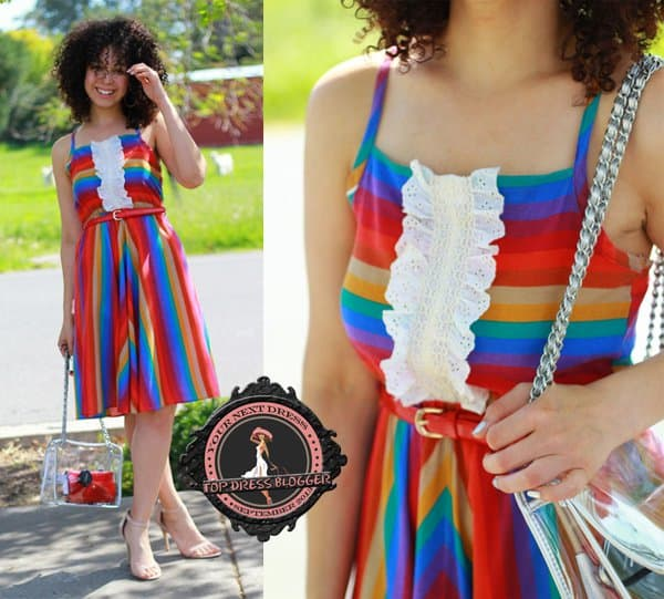 Amber's summery rainbow dress