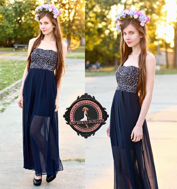 Ariadna's embellished and sheer long gown