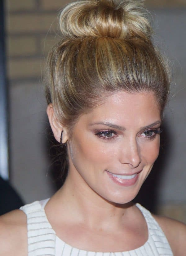 Ashley Greene wore her hair up in a sweet-looking bun