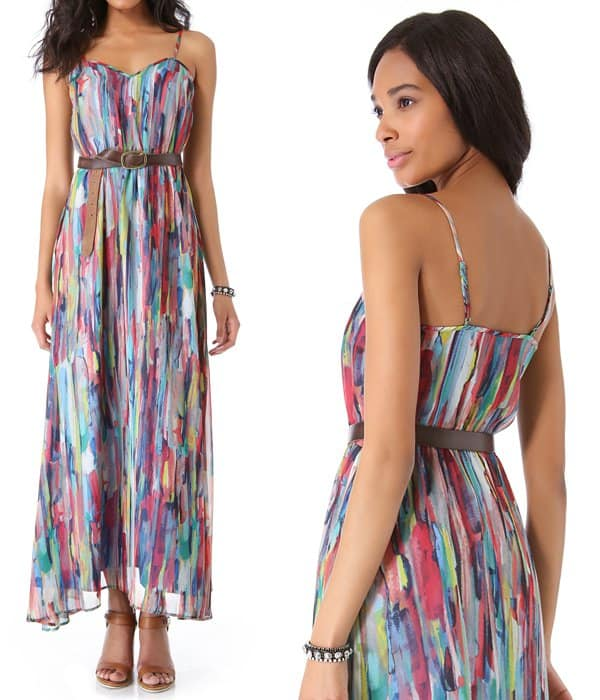 BB Dakota Bayberry Cascade Print Maxi Dress