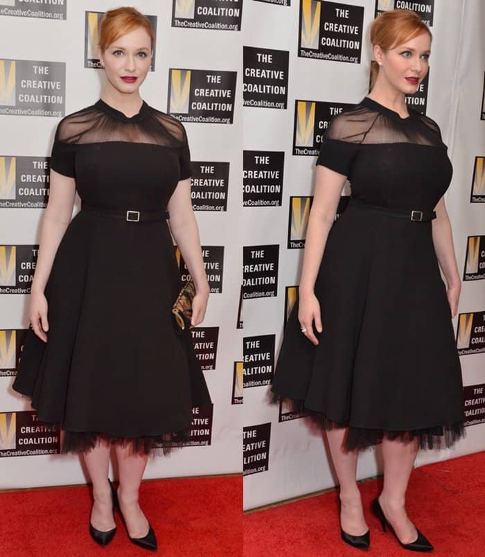 Christina Hendricks wearing a black belted dress at The Creative Coalition's Inaugural Ball for the Arts at the Harman Center for the Arts in Washington DC.