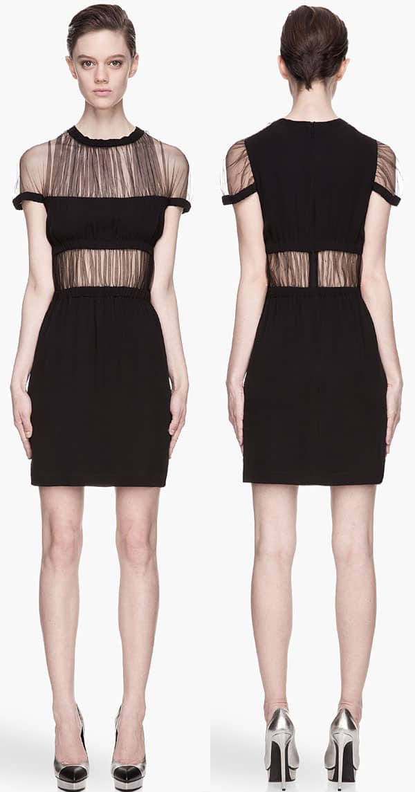 Christopher Kane Black Mesh Shawl Top Gathered Silk Dress