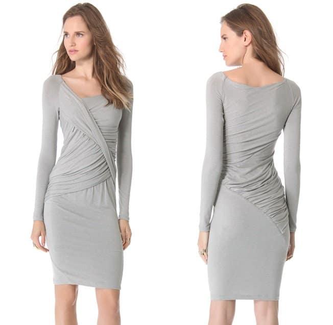 Donna Karan Draped Long Sleeve Dress