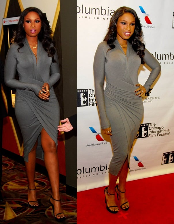 Jennifer Hudson wore a gray jersey dress by Donna Karan, ankle strap heels and silver tone jewelry