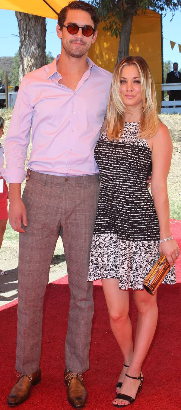 Kaley Cuoco with her fiancé Ryan Sweeting at the fourth annual Veuve Clicquot Polo Classic