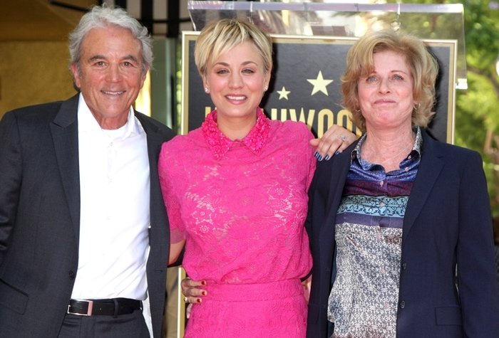 Kaley Cuoco with her parents Layne Ann (née Wingate) and Gary Carmine Cuoco on the Hollywood Walk of Fame