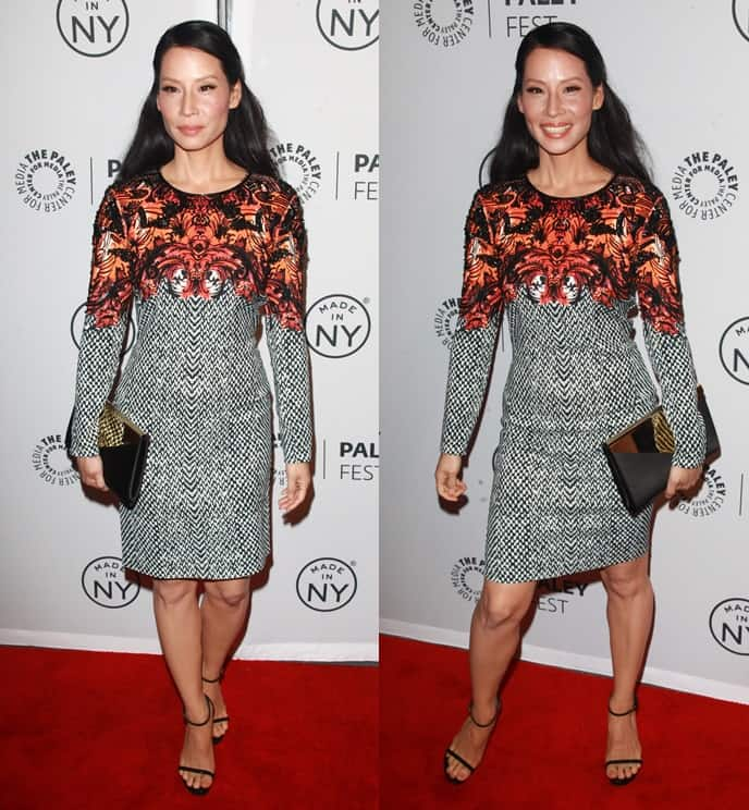 Lucy Liu wore a mixed print dress by Roberto Cavalli