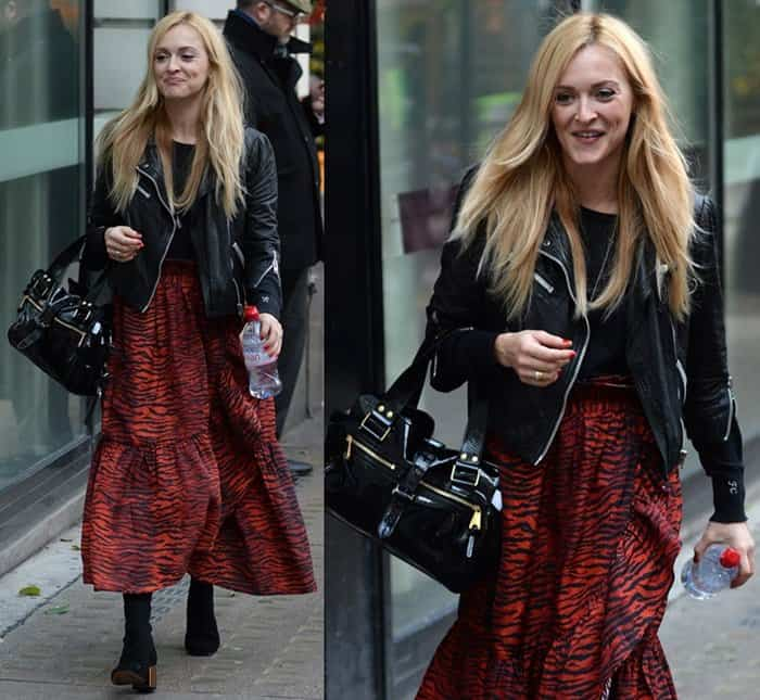 Fearne Cotton wears a printed maxi dress with a leather jacket
