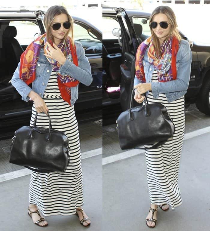 Miranda Kerr wearing a striped maxi dress at LAX airport