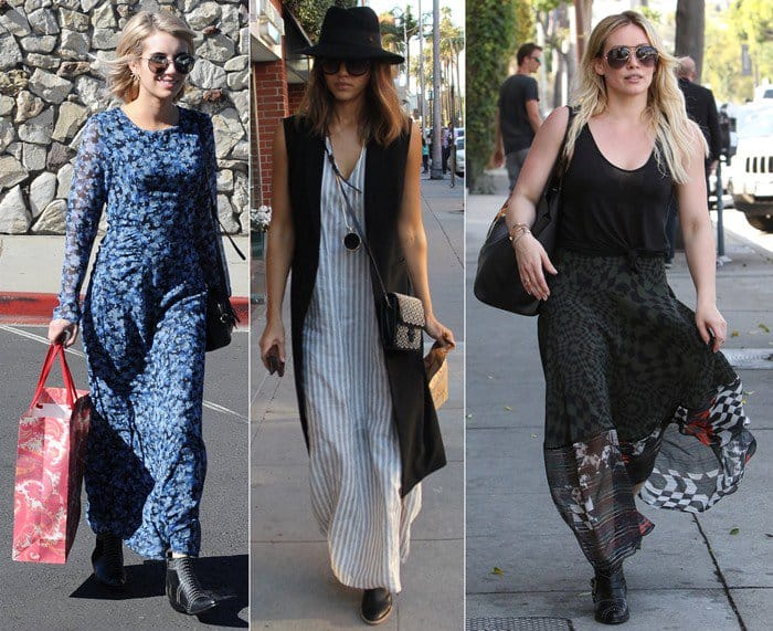Celebrities showing how to wear boots with a maxi dress