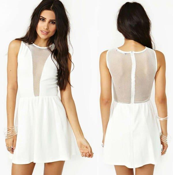 Nasty Gal For Love & Lemons Lulu Dress in White Mesh