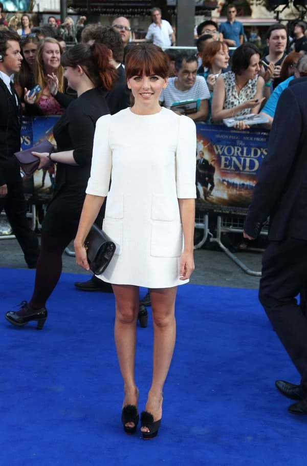 "Ophelia Lovibond in a white structured dress and Charlotte Olympia heels at the world premiere of ""The World's End"""