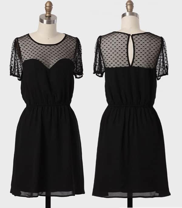Ruche Sweet Side Mesh Detail Dress