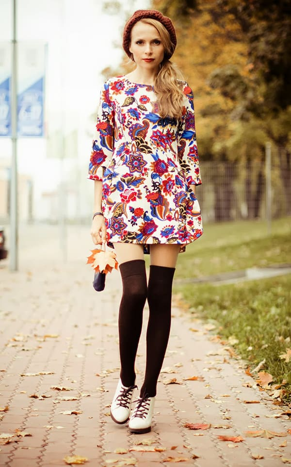 Fashion blogger Tini Tani rocks a printed shift dress with socks and lace-up heels