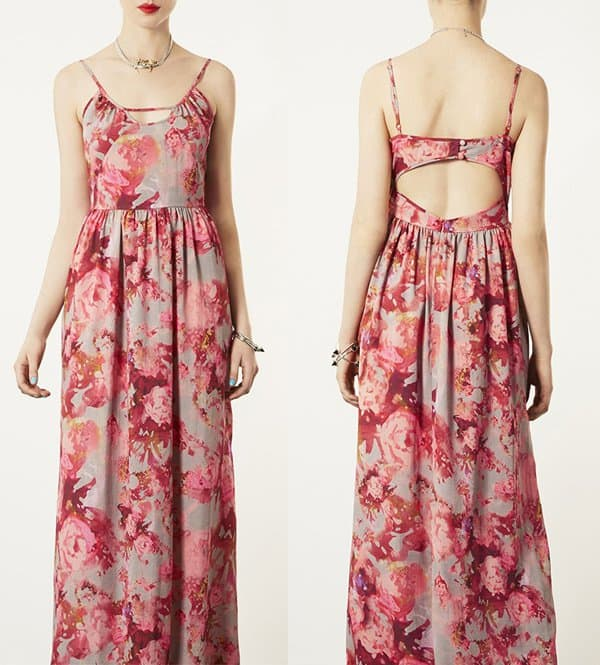 Topshop Blur Floral Maxi Dress