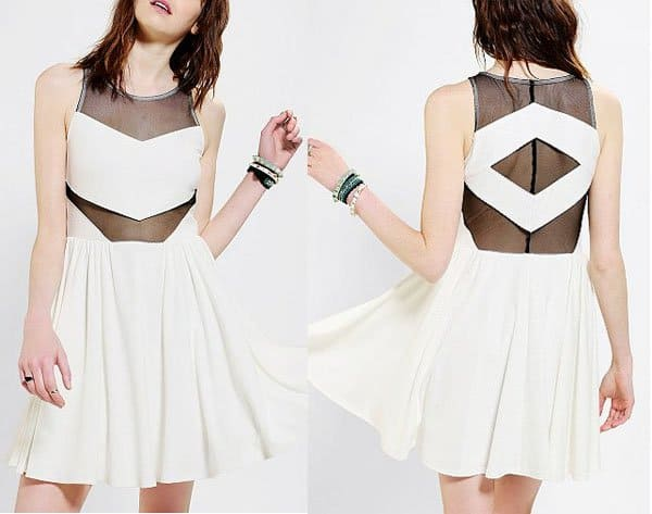 Urban Outfitters Sparkle & Fade Knit Mesh Inset Skater Dress