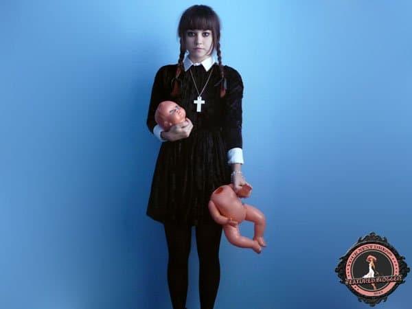 Veronika dresses as Wednesday Addams