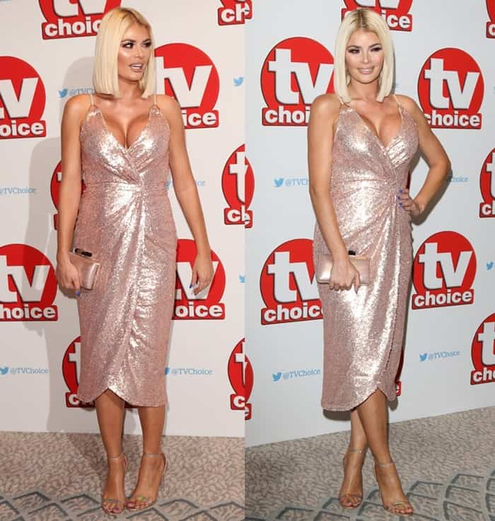 Lia Toby wearing a metallic wrap style dress at The TV Choice Awards 2016 at The Dorchester, Park Lane in London.