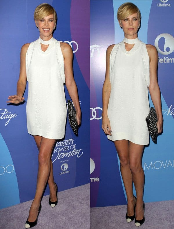 Charlize Theron in a high-neck shift by Stella McCartney at Beverly Wilshire Four Seasons Hotel in California on October 4, 2013