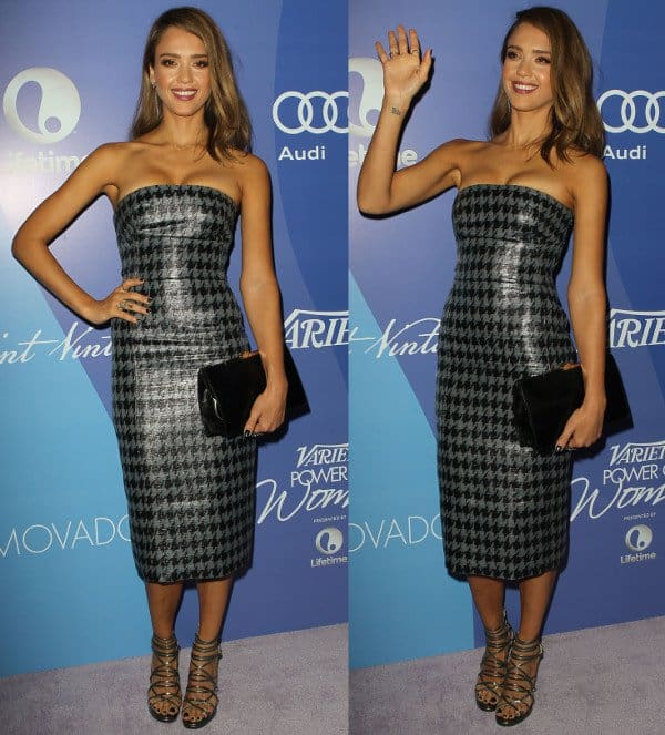 Jessica Alba in a strapless Christian Dior midi dress at <em>Beverly Wilshire Four Seasons Hotel in California on October 4, 2013