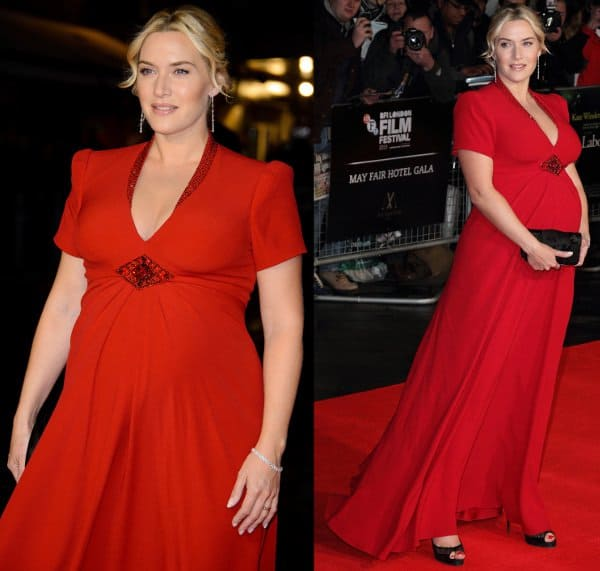 """Kate Winslet wearing a red gown at """"Labor Day"""" premiere"""