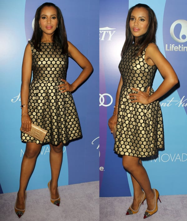 Kerry Washington wearing a gold-dotted fit-and-flare dress by Vince Camuto for the Power of Women event