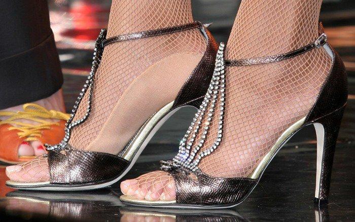 Beyonce Knowles wearing bejeweled open-toe pumps