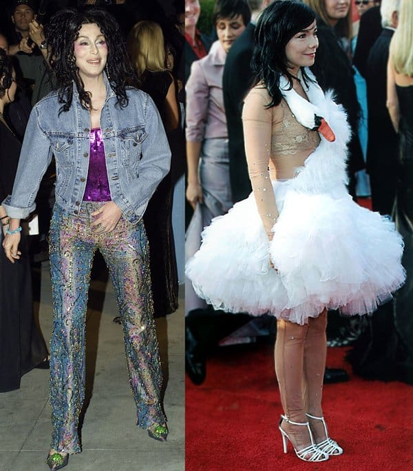 "CHER at the 72nd Academy Awards Vanity Fair Party and Bjork in a ""swan dress"""