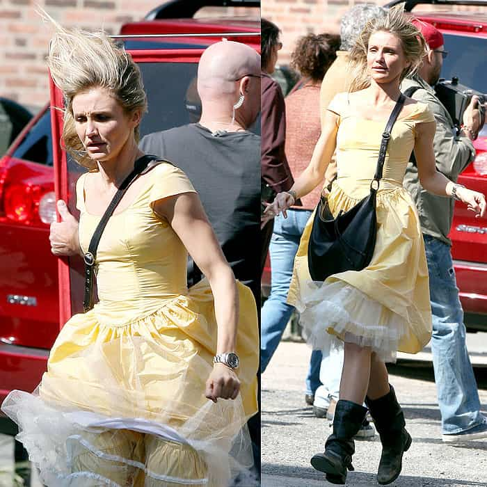 Cameron Diaz is caught by the wind while filming on the set of 'Knight and Day'