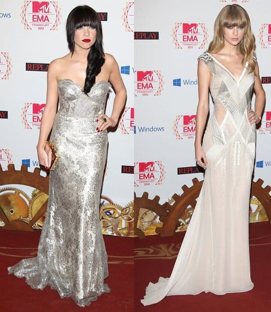 Carly Rae Jepsen and Taylor Swift Fashion Battle in Silver Gowns