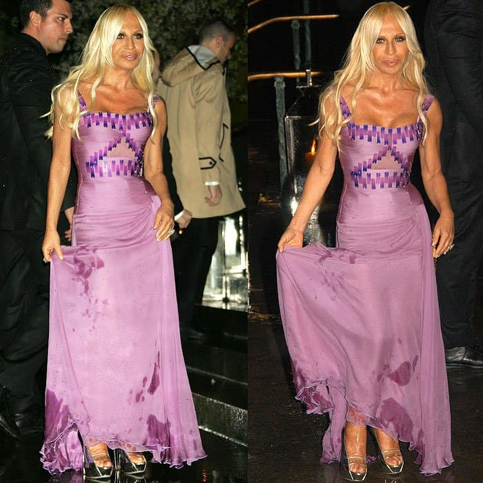 Donatella Versace holding her water-stained dress after tripping on the stairs at Sir Elton John's 60th birthday party held at Cathedral Church of St. John the Divine in New York City on March 24, 2007