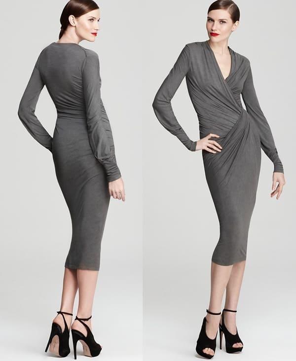 Donna Karan Plunging Twist Dress