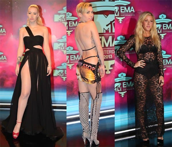 Ellie Goulding, Iggy Azalea, and Miley Cyrus at the 20th MTV Europe Music Awards
