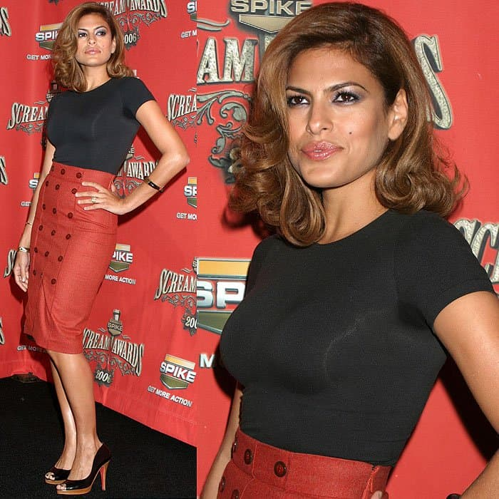 Eva Mendes with armpit sweat stain at Spike TV presents the Scream Awards held at the Pantages Theater in Los Angeles, California, on October 7, 2006