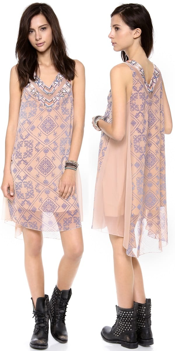 Zigzag patterns effect the look of embroidery on a filmy chiffon Free People dress