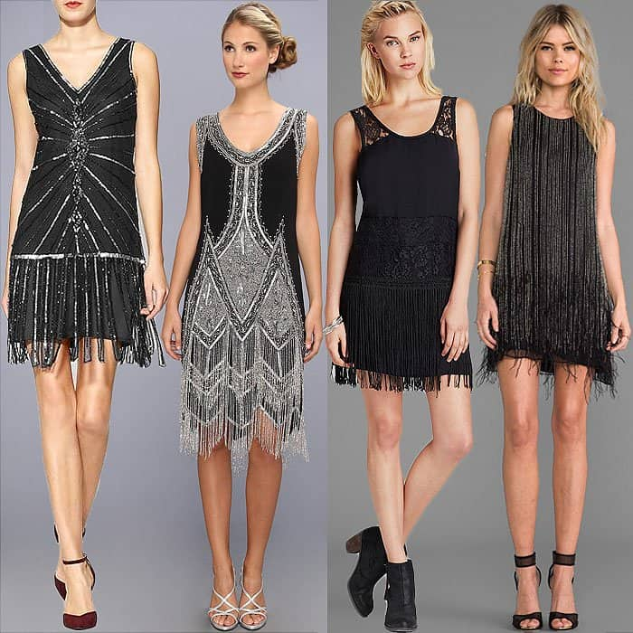 Try restyling the '20s flapper dress yourself into different looks with the following fringed dresses