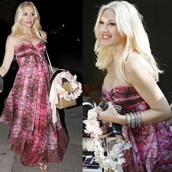 Gwen Stefani pink dress baby shower