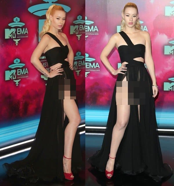 Iggy donned a couture black one-shoulder sheer gown from Dilek Hanif's Spring 2011 collection paired with red open-toe, ankle-strap sandals