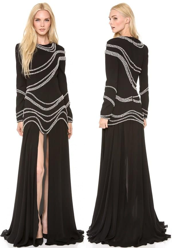 Jay Ahr  Chain Embroidered Gown with Long Sleeves