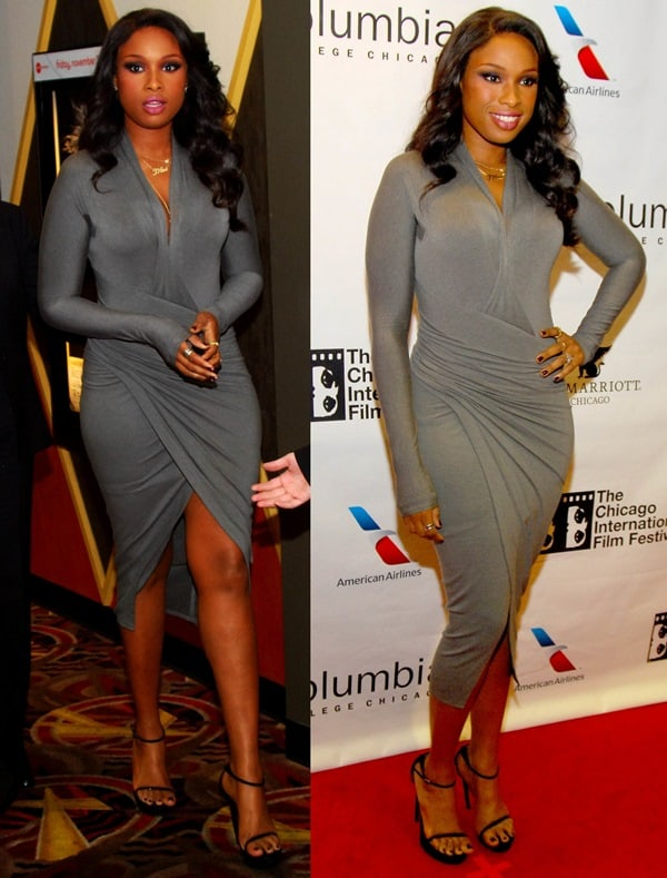 Jennifer Hudson styled the long-sleeved grey dress from the Donna Karan Pre-Fall 2013 collection with black sandals by Saint Laurent