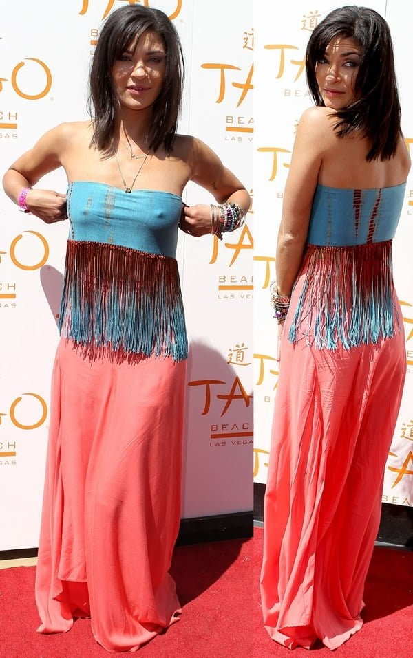 Jessica Szohr went braless in an Express scarf as a tube top