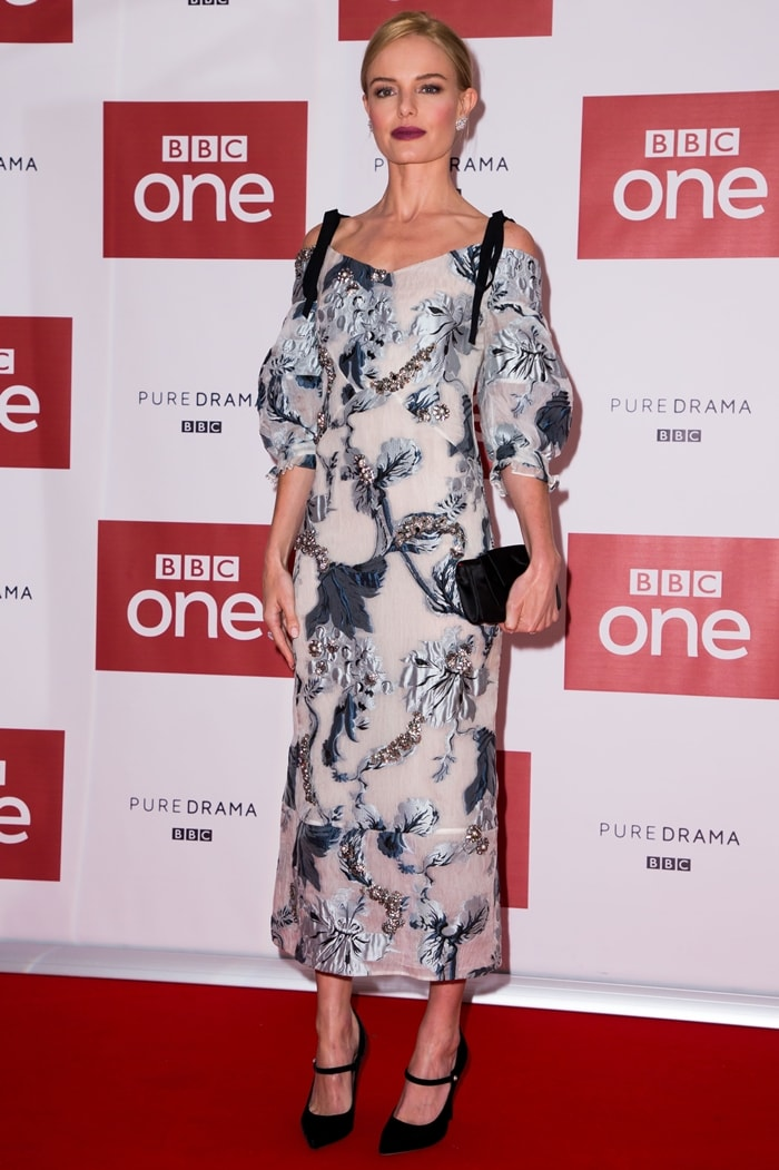 Kate Bosworth rocked a floral tea-length dress at the world premiere of BBC One's SS-GB