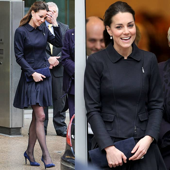 Kate and her pleated skirt continued to battle with the wind after the chat stop, but that didn't stop her from smiling, looking good, and fulfilling her role as a Place2Be patron