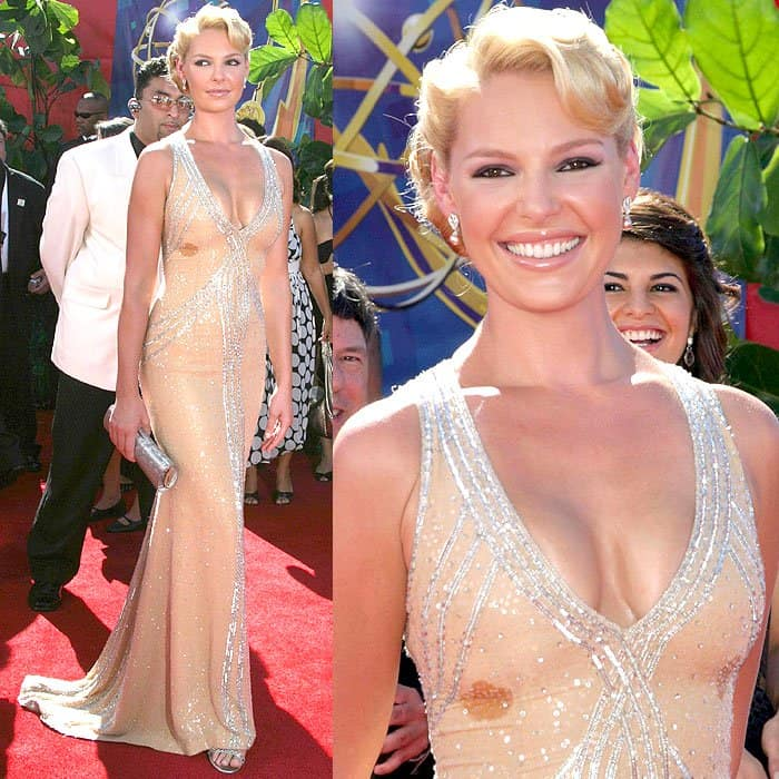 Katherine Heigl with boob stains at the 58th Annual Primetime Emmy Awards held at the Shrine Auditorium in Los Angeles, California, on August 27, 2006