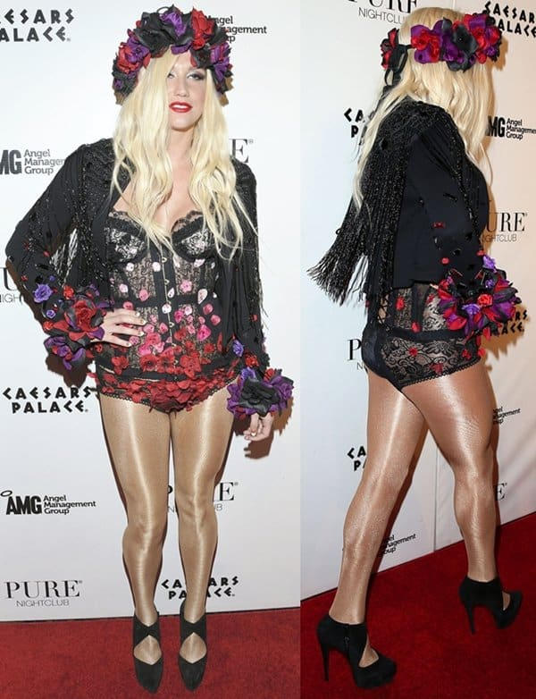 In true Kesha fashion, the pop star styled her two-piece corset and bottom with colorful flower embellishments