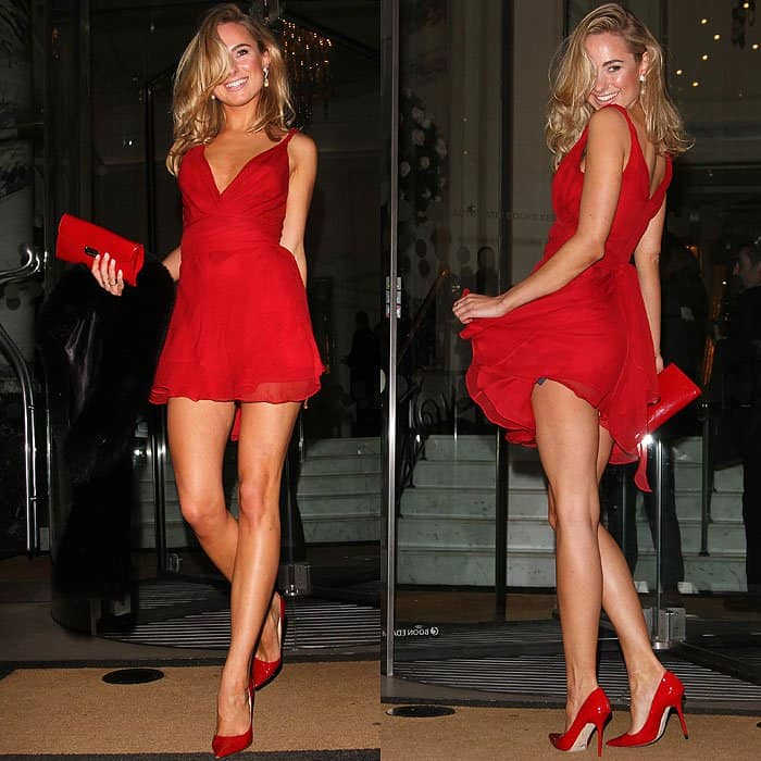 Kimberley Garner heading to a cocktail reception at the Langham Hotel in London, England on February 20, 2014