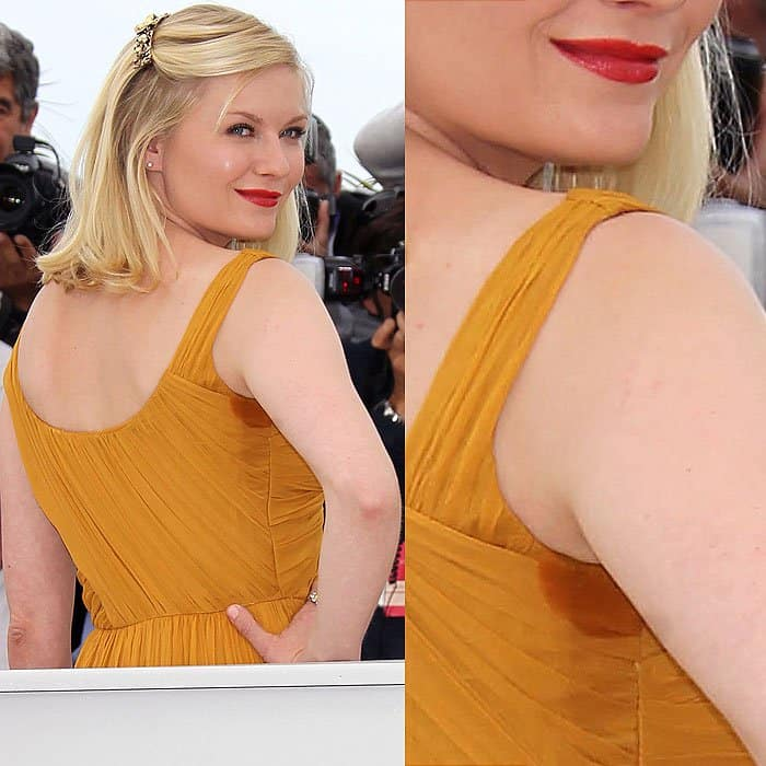 Kristen Dunst with armpit stain at the Melancholia photo call at the 2011 Cannes International Film Festival in Cannes, France, on May 18, 2011