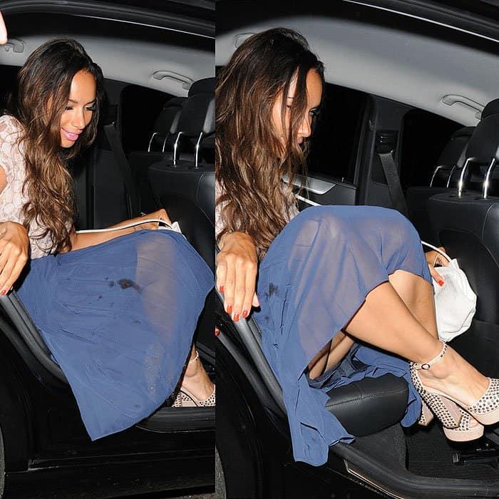 Leona Lewis's upskirt moment while leaving Nobu
