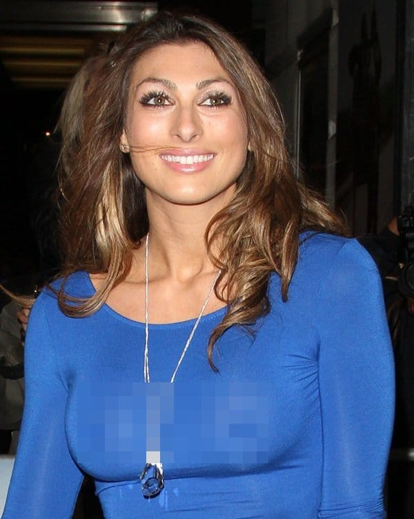 Luisa Zissman decided to go braless in a sheer blue dress